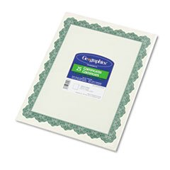 * Parchment Paper Certificates, 8-1/2 x 11, Optima Green Border, 25/Pack