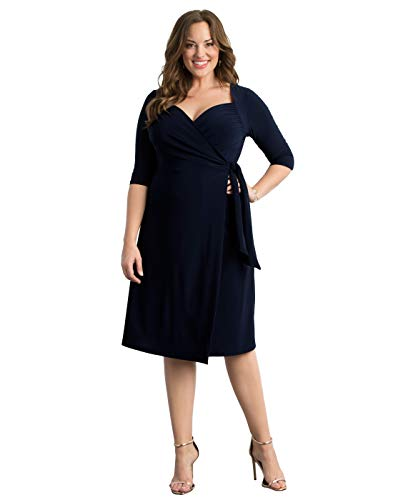 Kiyonna Women's Plus Size Sweetheart Knit Wrap Dress 1x Dark Sky Navy