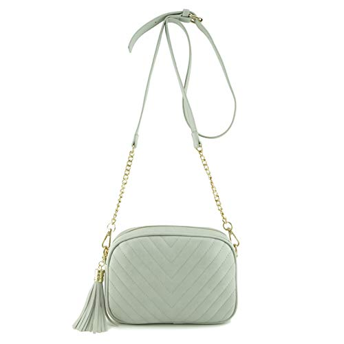 Simple Shoulder Crossbody Bag With Metal Chain Strap And Tassel Top Zipper (Lt Grey) (Strap Bags Teen For One Girls)