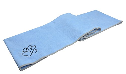 Sinland Ultra Absorbent Microfiber Pet Bath Towel Pockets Dry Towel Embroidered Paw Print 16Inchx40Inch Light Blue