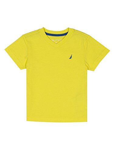 Nautica Boys' Big' Short Sleeve Solid V-Neck T-Shirt, Strait Firefly, Medium (10/12) -