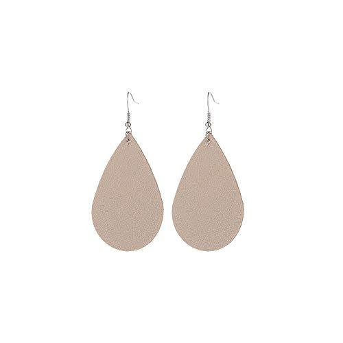 WLLAY Teardrop Leather Earrings Soft Lightweight Genuine Leather Teardrop Dangle Earrings Multi-Color Leaf Drop Earrings (Cream-Coloured)