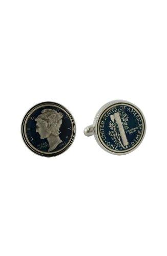 David Donahue Sterling Silver Dark Blue Mercury Dime Cufflinks (H95507802) ()