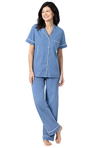 PajamaGram Soft Cotton PJs Women - Button Up Pajamas for Women, Blue, XS (2-4)