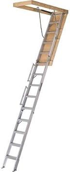 Louisville Escalera Everest de aluminio para ático con capacidad de 350 libras, 25.5 pulgadas por 63 pulgadas, altura de techo de apertura de 10 pies a 12 pies: Amazon.es: Bricolaje y herramientas