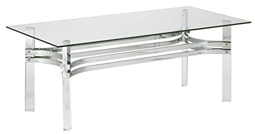 Signature Design by Ashley T420-1 Braddoni Rectangular Cocktail Table, Chrome Finish ()