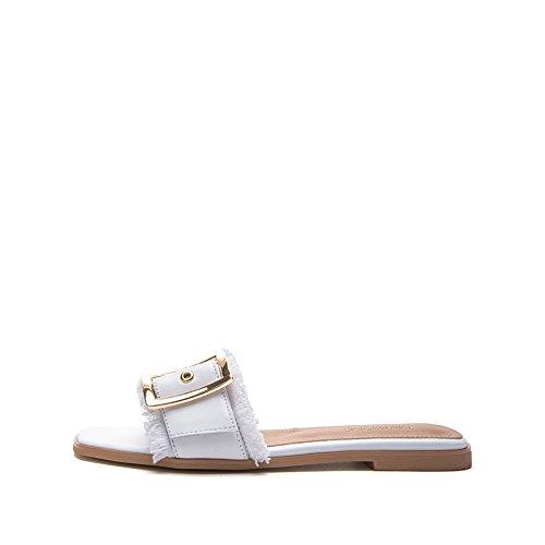 Pantofole tacco a DHG basso Sandali donna Tacchi bianca casual alti tacco Sandali piatti da basso Sandali con moda 38 alla estivi Zqr6Efqxpw