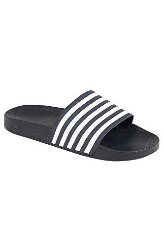 Sapphire Boutique Men's Flat Mules Slip On Sliders Stripe Contrast Beach Flip Flop Sandals Shoes Navy / White cQHYYXQ