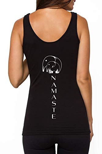 TREELANCE Organic Cotton Black White Yoga Workout Tank Tops Shirts Graphic Tees for Women (Small, Black Namaste)