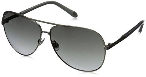 Fossil Fos3054s Aviator Sunglasses, Semi Matte Silver/Gray Gradient, 63 - Aviators Fossil