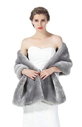 Fur Silver (Faux fur Shawl Wrap for Wedding Women Shrug Bridal Stole Winter Cover Up Bridesmaids Cape S76 Silver)