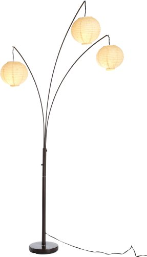 Three 26 Lamp - Adesso 4101-26 Spheres Arc 3-Light Floor Lamp - Standing Lamp with Rice Paper Shades. Lighting Fixture. Home Decor and Lighting
