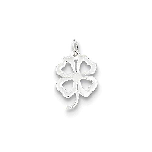 Pendants Good Luck and Italian Horn Charms .925 Sterling Silver 4-Leaf Clover Charm (Italian Horn Good Luck Charm)