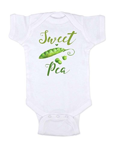 Sweet Pea Cotton Onesie - Hello Handmade Sweet Pea Cute Baby Bodysuit Shower Gift (6 Months, White)