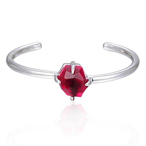 ENFASHION Birthstone Bangle Bracelet Women's Silver-Tone Cuff Bracelet 12 Birth Month (January)