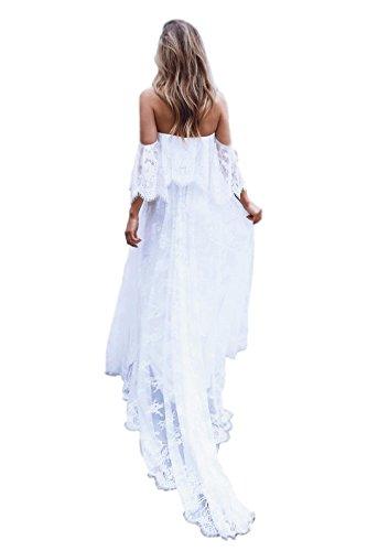 Newdeve White Off Shoulder Stripeless Simple Asymmetrical Soft Lace Beach Wedding Dress for Bride 2018