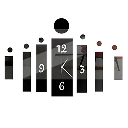 Happy Hours - Creative Wall Clocks / Home DIY Decoration Watch / Acrylic Craft Living Room Mirror 3D Wall Design(Black)
