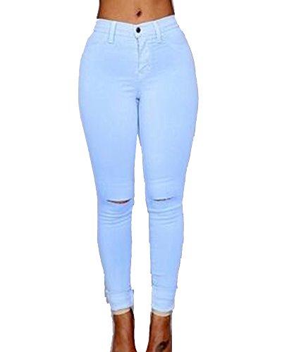 Stretch Legging Skinny Trou Azur Casual Pantalons Genoux Jean Taille Haute Femme Denim zvqInwR