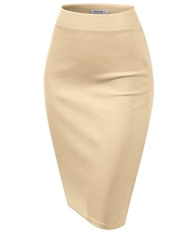 (CLOVERY Women's Basic Stretch Cotton Foldover Waistband Bodycon Tube Mini Skirt Oatmeal XL Plus Size)