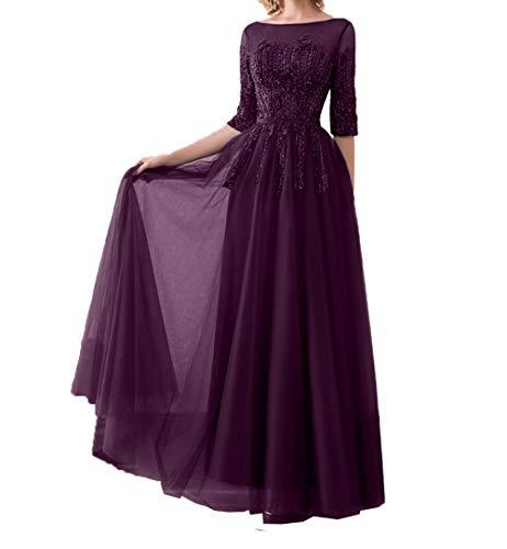 Promkleider Elegant Damen Pailletten Traube Abendkleider Langarm Tanzenkleider Formalkleider Brautmutterkleider Charmant nqAY7w5w