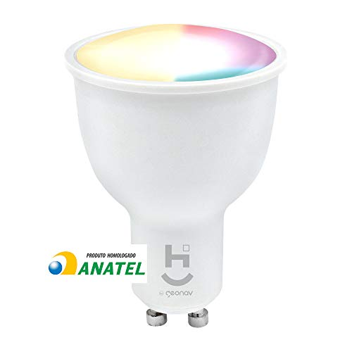 Hi By Geonav Lâmpada Inteligente RGB+W, Branco Quente (Amarelo), LED 5W, Wi-Fi, Dicróica, Controle no Aplicativo, 320…