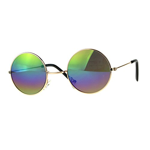 Rainbow Mirror Lens - Kids Childern Size Metal Rim Round Circle Lens Color Mirror Sunglasses Rainbow