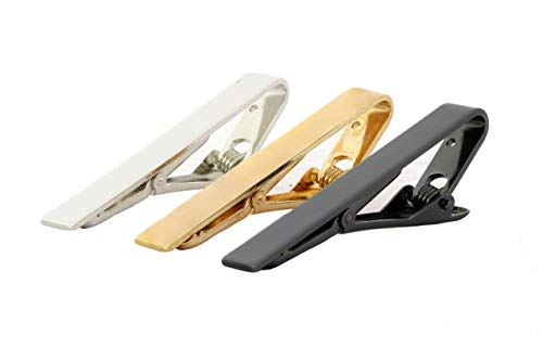 Bellina Set of 3 Professional Tie Clip Bar Metallic Shinny Gold, Silver, Black, Classic Design Matched Any Cloths for Party Wedding Groom Interview Graduate -