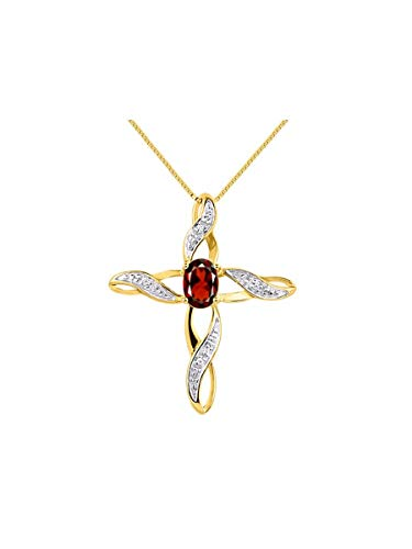 - Diamond & Garnet Cross Pendant Necklace Set In Yellow Gold Plated Silver .925 with 18