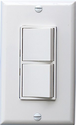 Baomain Duplex Rocker switch 15 Amp, 120 Volt, Single-Pole AC Combination Switch, Commercial Grade, Grounding, White with Wall Cover Double Switch