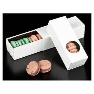 Macaron Box - White - With Window - Holds 6 - 10 pack Golda's Kitchen