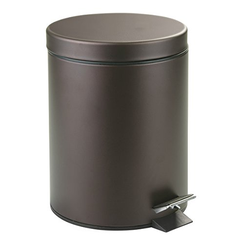 mDesign 5 Liter Round Small Steel Step Trash Can Wastebasket, Garbage Container Bin for Bathroom, Powder Room, Bedroom, Kitchen, Craft Room, Office - Removable Liner Bucket, Bronze by mDesign