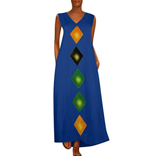 Hivot Women's Long Maxi Dresses Sleeveless V-Neck Princess Printed Beach Dresses T Shirt Sundress Party Dress Blue]()