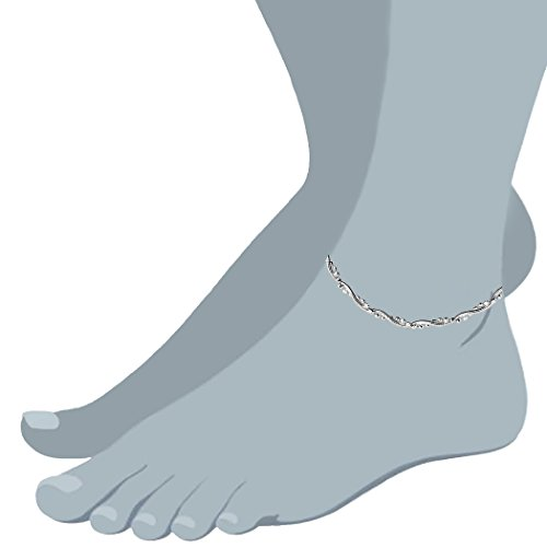 Braided Bead And Snake Style Chain Anklet In Sterling Silver
