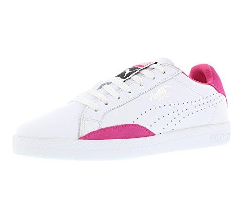 Womens Approach Tennis Shoes (PUMA Women's Match Lo Basic Sports Wn's Tennis Shoe, White/Fuchsia Patent, 8.5 M US)