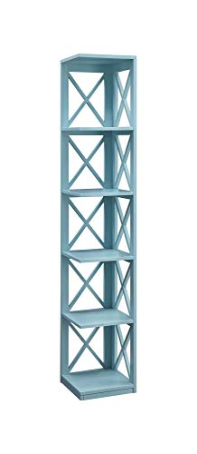 Convenience Concepts 203080SF Oxford 5 Tier Corner Bookcase, Sea Foam ()