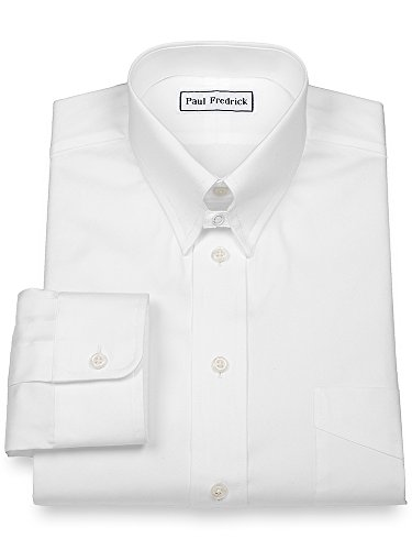 Paul Fredrick Men's Pinpoint Snap Tab Collar Button Cuff Dress Shirt White 22.0/35