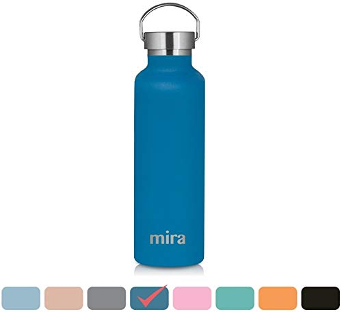 MIRA Alpine Stainless Steel Vacuum Insulated Water Bottle with 2 Lids, Durable Powder Coated Thermos | 25 oz (750 ml) | Hawaiian Blue