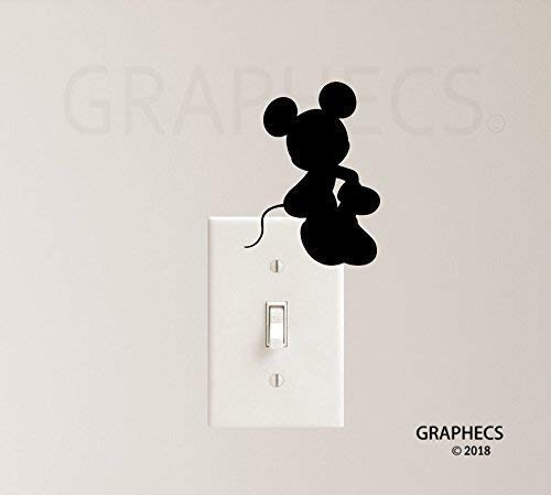 Mouse Sitting Vinyl Decal Sticker Light Switch Kids Home Decor
