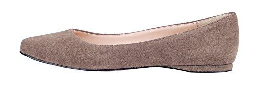 Queenfoot Véritable Daim Cuir Bout Pointu Confortables Ballerines Casual Chaussures Chaussures C-lumière Marron