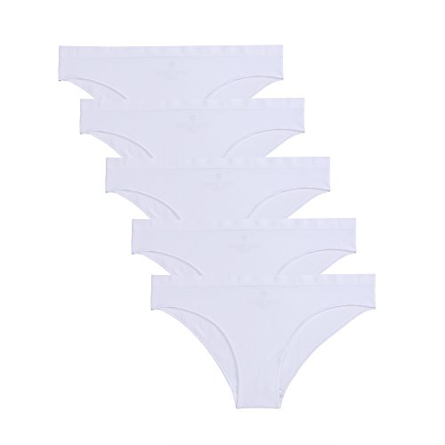 Nylon No Gusset White Panty - Ruxia Women's Seamless Hipster Panties Comfortable Underwear Stretch Bikini Panty 5 Pack (White, S)
