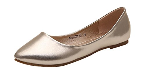 UJoowalk Womens Golden Leather Comfortable Lightweight Solid Pointed Toe Ballet Flats Shoes - Size (Check Ballerina Flats)