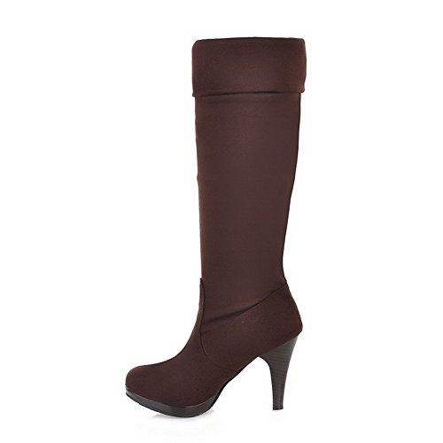 VogueZone009 Damen Hoher Absatz Rein Rund Zehe Mattglasbirne Ziehen auf Stiefel Braun