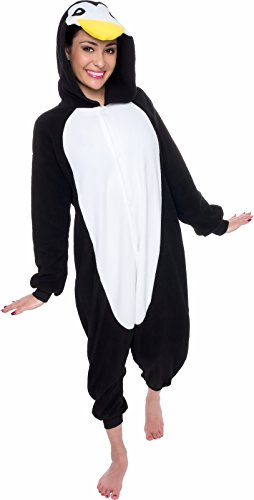 The Penguin Costumes (Silver Lilly Unisex Adult Pajamas - Plush One Piece Cosplay Penguin Animal Costume (Black / White, Medium))