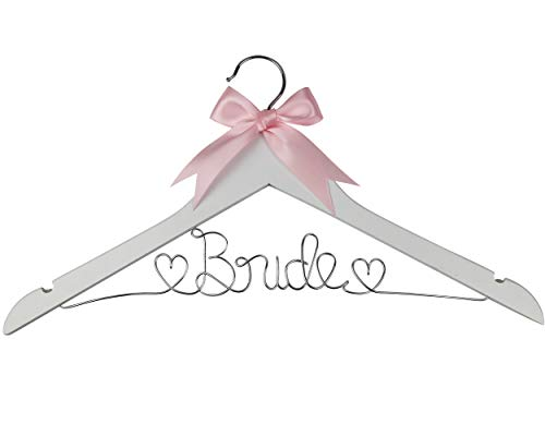 Bride to Be Wedding Dress Hanger, Hanger with Bride Wire for Wedding Gown in Anatto Wood, White Wood, and Natural Wood, Perfect Gift for the Bride on her wedding or Bridal Shower! (White Wood)