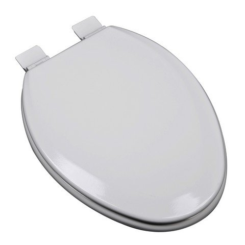 Bath Décor 1F1E5-80 Premium Molded Wood Elongated Toilet Seat with Adjustable Hinge & OSG, Silver/Gray