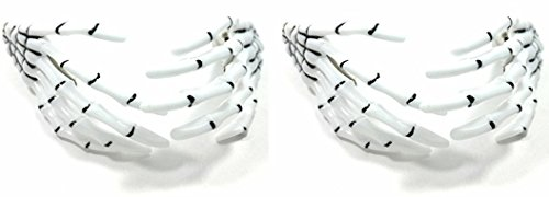 Skeleton Hand Hair Clips - Cute Creepy Scary and Spooky Japanese Pastel Goth Punk Harajuko Halloween Costume Cosplay Accessory - Guaranteed to Give You Chills (Combo Pack)(White)(2 pairs)