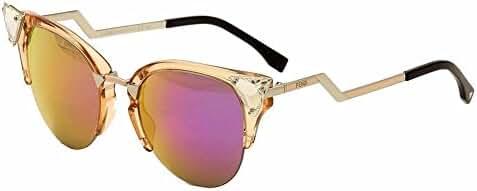 Fendi Women's Crystal Cateye Sunglasses in Peach Palladium Pink FF 0041/S 9F6 52