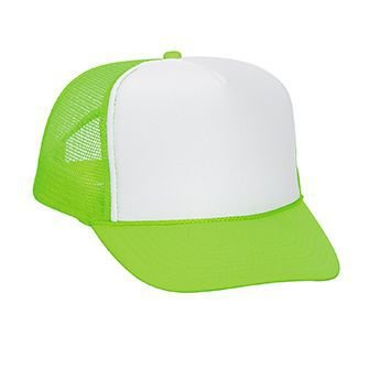 OTTO Neon Polyester Foam Front 5 Panel High Crown Mesh Back Trucker Hat - N.Grn/Wht/N.Grn ()