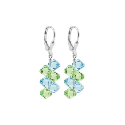 Gem Avenue Sterling Silver Blue and Green Crystal Handmade Dangle Earrings Made with Swarovski Elements