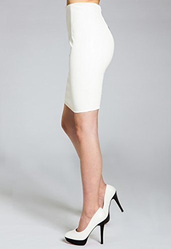 CASPAR Jupe pour crayon sexy stretch RO009 femme et Blanc en similicuir BrWr0Pgdq